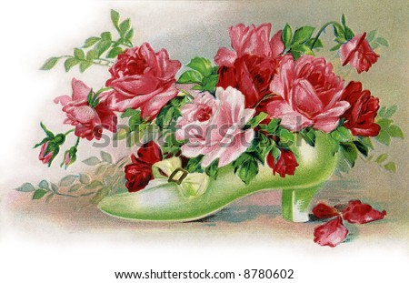 Bouquet of roses in a shoe - a circa 1908 vintage illustration