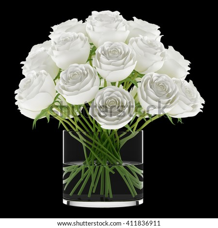 bouquet of roses in glass vase isolated on black background. 3D illustration - stock photo