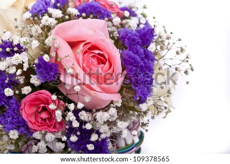 bouquet of roses, iris, gerbera on a white background - stock photo