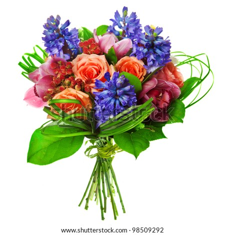 bouquet of roses, lily and geatsint - stock photo