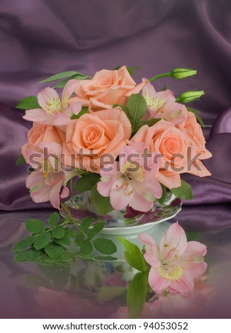 Bouquet of roses on a  dark background - stock photo