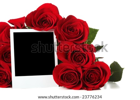 Bouquet of roses with empty photo - stock photo