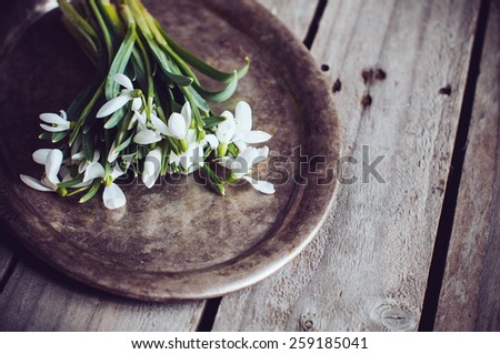 Bouquet of spring flowers snowdrops on a vintage tray on an old wooden board - stock photo