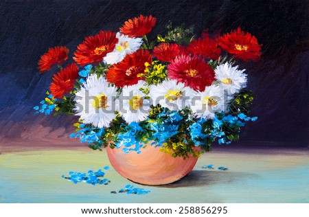 bouquet of spring flowers, still life oil painting - stock photo