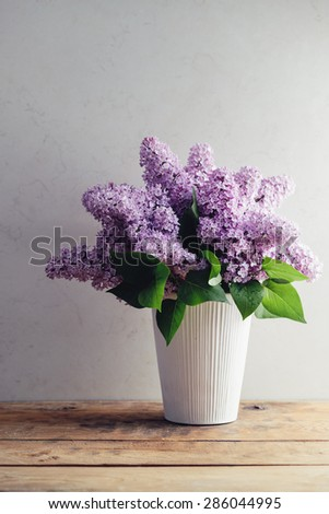 Bouquet Of Spring Purple Lilac In A Vase - stock photo