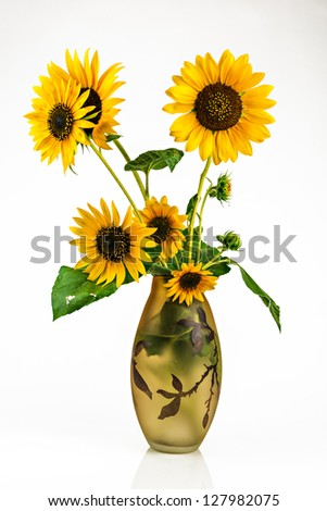 bouquet of sunflowers in a glass vase on a white background - stock photo