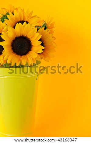 Bouquet of sunflowers in yellow metal vase
