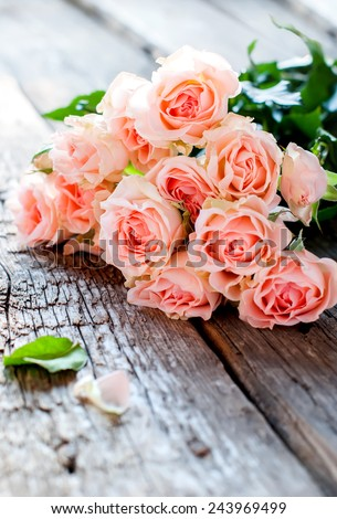 Bouquet of Tender Pink Roses on Wooden Table in sunshine light - stock photo