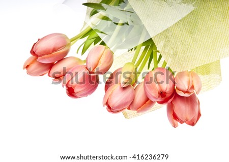 Bouquet of the fresh red tulips isolated on white background. - stock photo