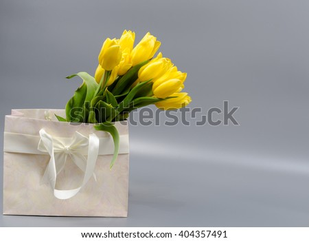 bouquet of the fresh tulips