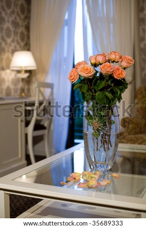 bouquet of the roses in vase - stock photo