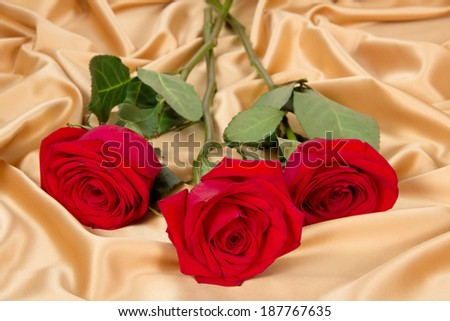 bouquet of three red roses on gold fabric - stock photo