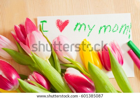 Bouquet tulips card greetings mother stock photo royalty free bouquet of tulips and card with greetings for mother m4hsunfo