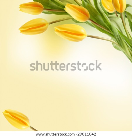 Bouquet of tulips on vintage yellow card
