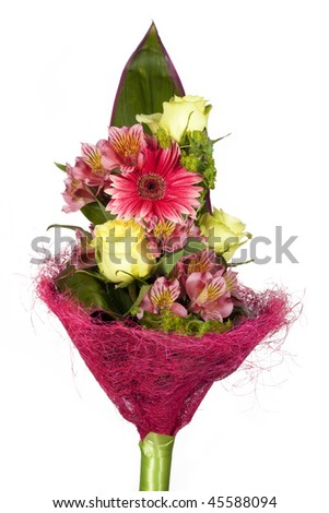 Bouquet of various flowers and leaves of plant - stock photo
