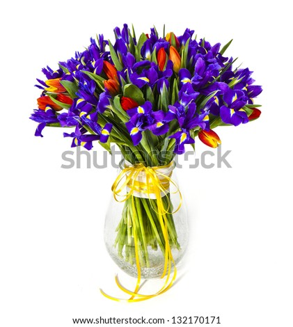 bouquet of violet irises isolated on white - stock photo