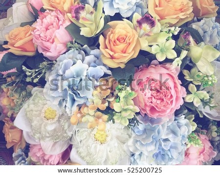 Bouquet of wedding flowers. Pastel tone background