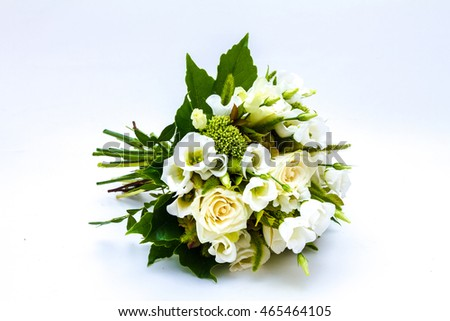 Bouquet of white flowers isolated on a white background