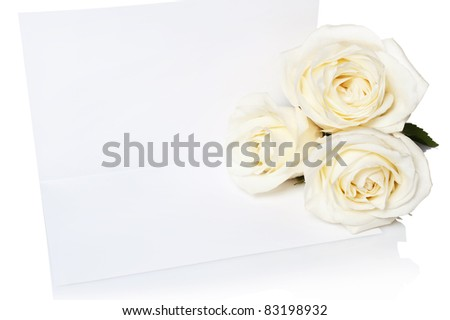 Bouquet of white roses with the invitation to a white background