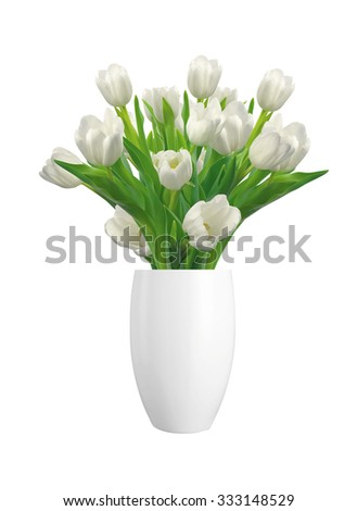 Bouquet of white tulips in vase isolated on white background - stock photo