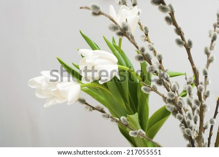 bouquet of white tulips with pussy willow twigs - stock photo
