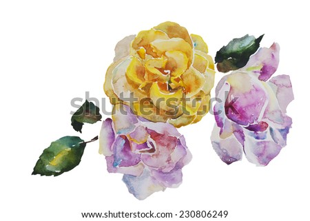 Bouquet of yellow and light pink roses with leaves, corner watercolor pattern from original art - stock photo