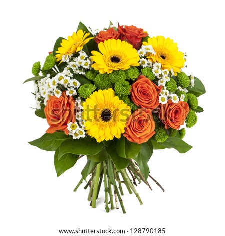 bouquet of yellow and orange flowers isolated on white background - stock photo