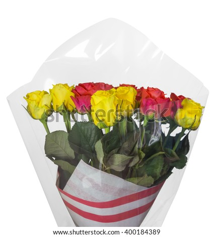 Bouquet of yellow and red roses isolated on white. Clipping path included.