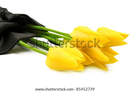 bouquet of yellow flowers for a funeral isolated on a white background - stock photo