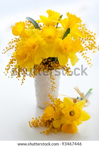 bouquet of  yellow narcissus and mimosa - stock photo