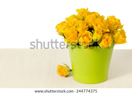 bouquet of yellow roses in a flowerpot on a beige cotton - stock photo