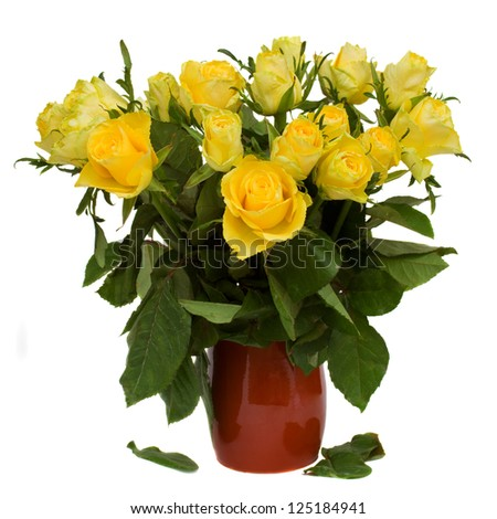 bouquet of yellow roses in pot - stock photo