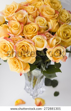 bouquet of yellow roses in the vase - stock photo