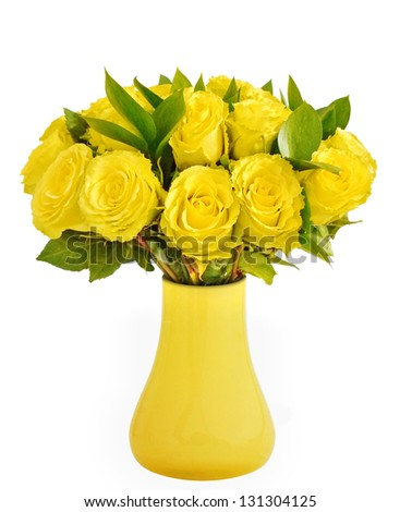 bouquet of yellow roses in vase - stock photo