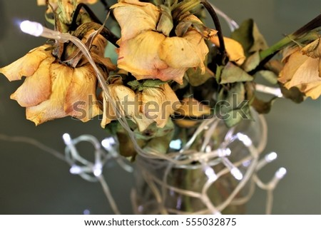 bouquet of yellow roses with lights
