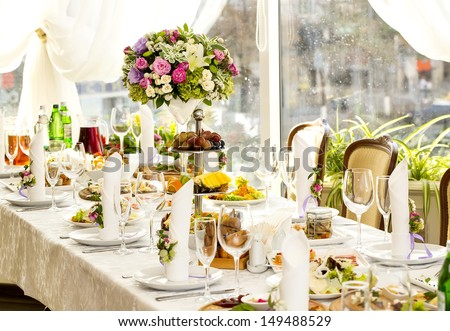 bouquet on a table in a restaurant - stock photo