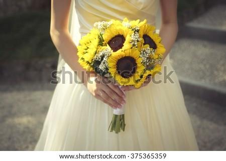 Bouquet sunflower - stock photo