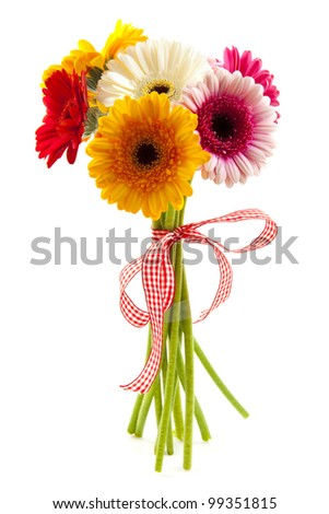 Bouquet with different kind of colored gerbera's isolated over white - stock photo