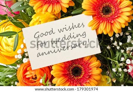Bouquet gerbera card wedding anniversarygood wishes stock photo