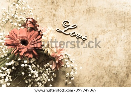 Bouquet with gerbera flowers/toned photo - stock photo