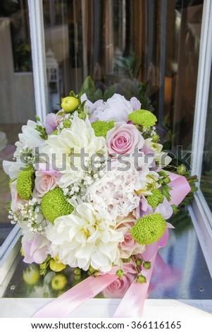 Bouquet with peonies, roses, dahlias and chrysanthemums