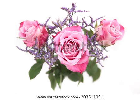 Bouquet with pink roses - stock photo