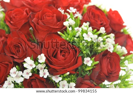 Bouquet with roses and small flower background