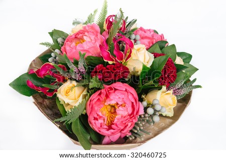 bouquet with roses, peonies, celosia, brunia and veronica on white background