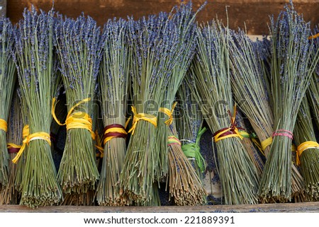 Bouquets of dry lavender for sale in Aix en Provence town, France - stock photo
