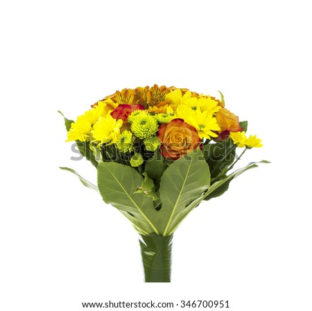 Bouquets of roses and yellow daisies on white - stock photo