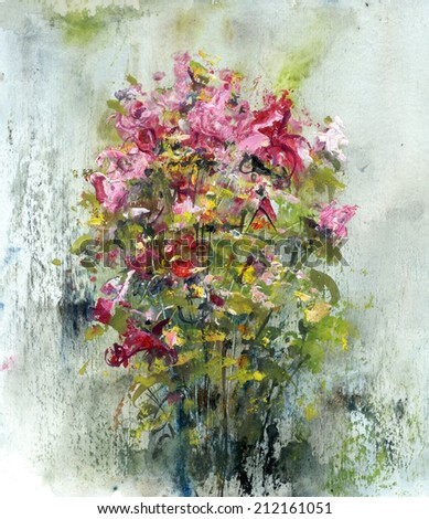 Bouquets of roses, painting art on paper background - stock photo