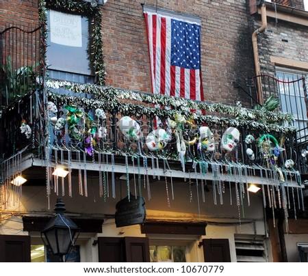 Bourbon Street Balcony - stock photo