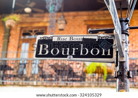 Bourbon Street sign in the French Quarter of New Orleans, Louisiana - stock photo