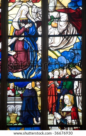 Bourg-en-Bresse (Ain, Rhone,-Alpes, France) - Ancient church of Brou: stained glass